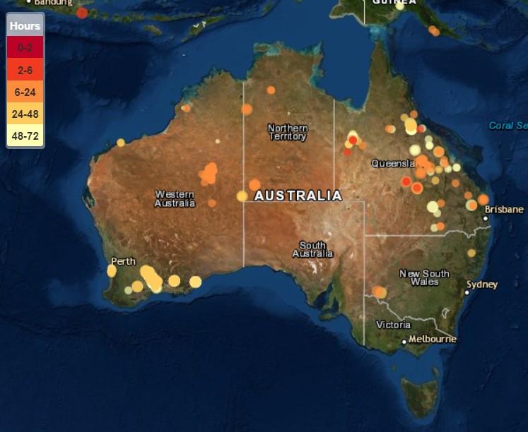mapa pożarów Australia