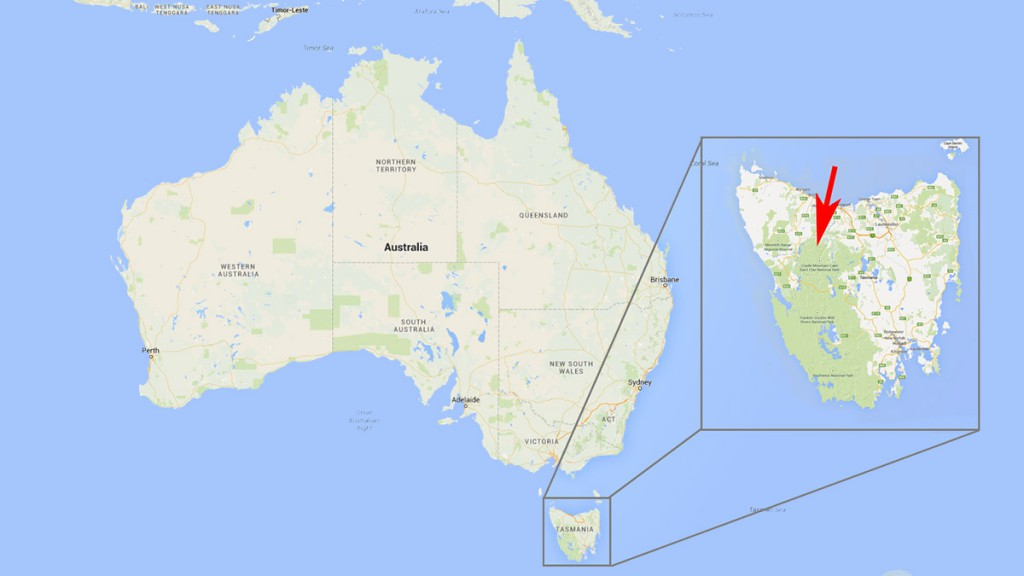 mapa Tasmania Australia